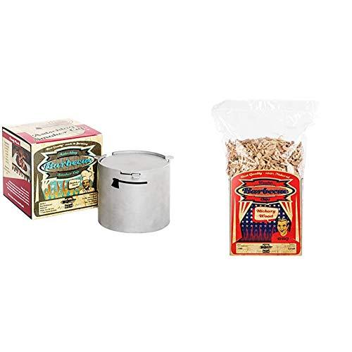 Axtschlag Räucherbox Smoker Cup, für Räuchermehl und Räucherchips in Elektrogrills, 90 x 80 mm & Räucherchips Hickory, 1000 Gramm sortenreine Räucherspäne für besondere Rauch- und Geschmackserlebnisse