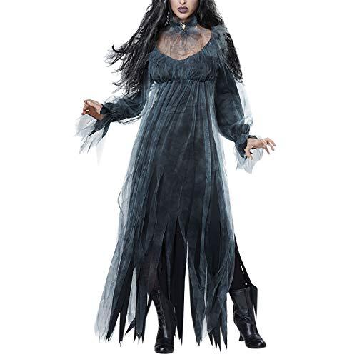 Petalum Halloween Kostüm Damen Zombie Braut Kleid Vampir Gruseliger Effekt Kleid Cosplay