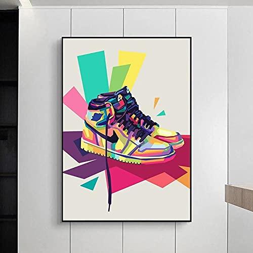 WFLWLHH Zapatillas De Deporte Pop De Moda Graffiti Art Canvas Painting Mural Poster Print Sport Shoes Street Art Cuadros Decoración del Hogar Imagen-(40X60Cm) Sin Marco
