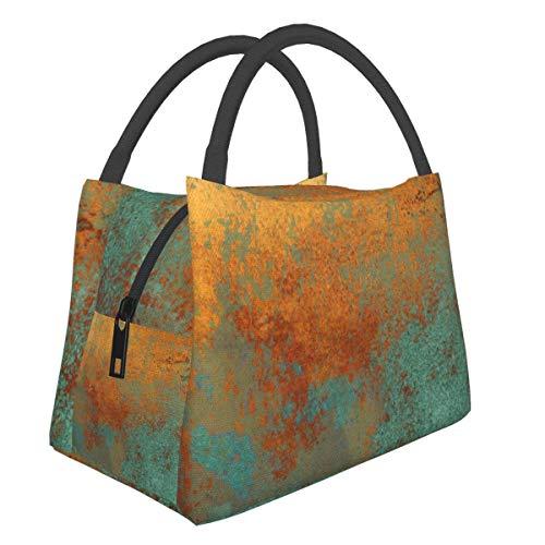 Bolsas de picnic portátiles Bento bolsa de almuerzo moderna rica en cobre pátina metálica multifuncional cremallera paquete para el trabajo escolar oficina bolso Bento aislamiento lonchera