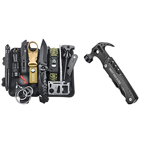 Gifts for Men Dad Husband, Survival Gear and Equipment 12 in 1, All in One Hammer Multitool, Fishing Hunting Birthday Gifts Ideas for Him Father, Cool Gadgets Christmas Stocking Stuffers for Men