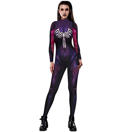 NooobTerrm Women Halloween Costume Skeleton 3D Printed Skinny Jumpsuit Bodysuit(L,Spider Purple)