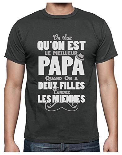Green Turtle T-Shirts Meilleur Papa avec Deux Filles comme Les Miennes T-Shirt Homme XX-Large Grus Foncé