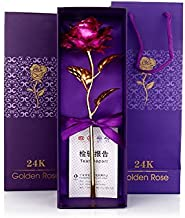 ShopAIS 24K Pink Rose with Gift Box and Carry Bag - Best Gift On Valentine's Day, Rose Day. Pink Dipped Rose with Gift Box
