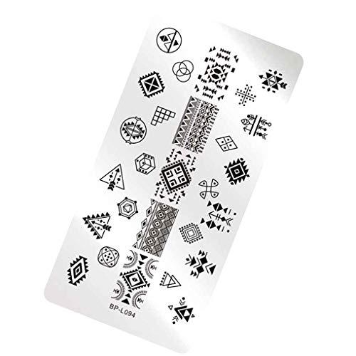 Qimao Impression d'image Emboutissage rectangle Plate Timbre géométrique Fleur Nail Art Modèle Emboutissage