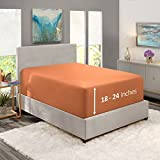 """Nestl Fitted Sheets Twin XL Size – Premium 1800 Microfiber Fitted Bed Sheets 18-24"""" Deep Pocket Breathable and Fade Resistant (Rust Sienna)"""