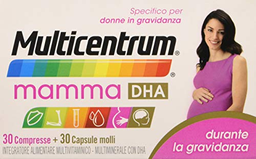 Multicentrum Mamma Dha 30+ - 30 Compresse Capsule Molli, Integratore alimentare multivitaminico multiminerale adatto a donne in gravidanza