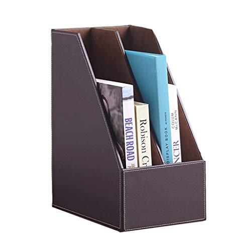 Cómodas y cajoneras Caja de almacenamiento Soporte de archivos de múltiples capas de cuero Material de oficina caja de almacenamiento de escritorio Marco de datos ( Color : Brown , Size : 18cm )