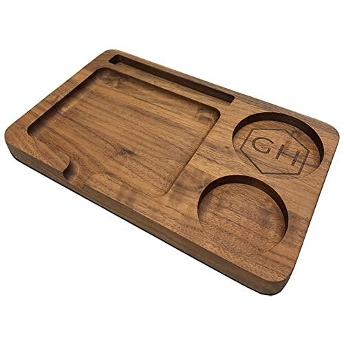 Grünhorn Dosierungsbrett I Rolling Tray aus Holz I Design in schwarzer Walnuss I hochwertig & robust I Diverse Aufbewahrungsfächer I Rolltablett I Drehunterlage