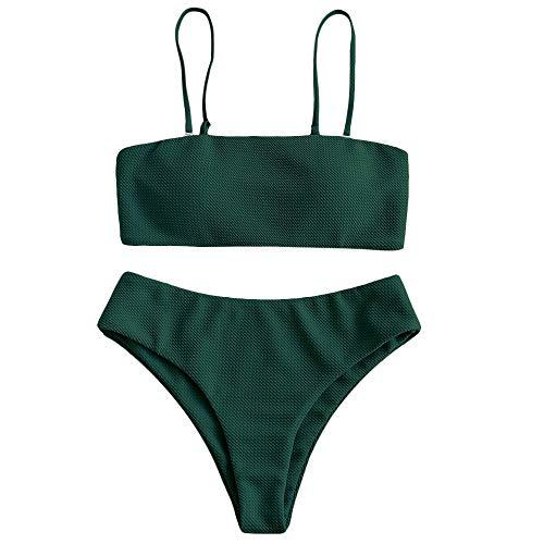 ZAFUL Damen Bikini Set, Texture Bandeau Bikini Set mit Gepolsterter High Cut Sexy Badeanzug (Grün-S)