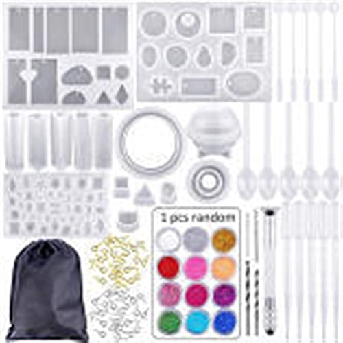 TLBBJ Jouets artisanaux 83 pièces Moules de coulée de Silicone et Outils sertis avec Un Sac de Rangement Noir for Bijoux Bricolage Facile (Color : Clear)
