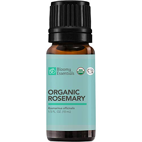 Bloomy Essentials Organic Rosemary Essential Oil 10 mL (1/3 oz) - Hair Growth, Anti Aging Antioxidant, Natural Skin Care for Acne and Wrinkles - 100% Pure, Undiluted, Therapeutic Grade