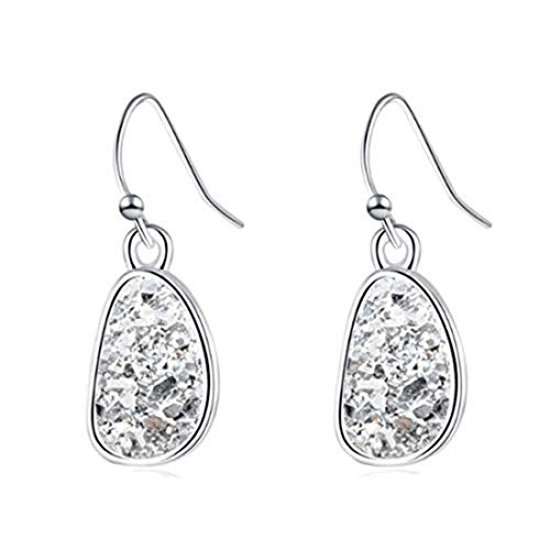 yichahu Women Fashion Small Dangle Earring Druse Earrings Silver Natural Stone Eardrop Love Ornaments Office Ladies(Silver + White)
