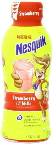 Nestle Nesquik Low Fat 1% Milk, Strawberry, 14 Ounce (Pack of 12)