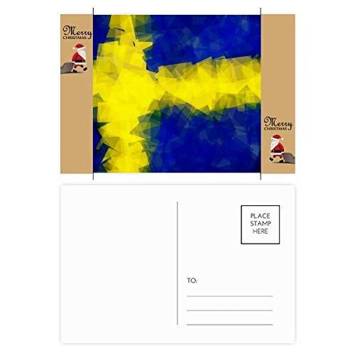 Postkarte mit schwedischem Abstraktes Flaggenmuster, Weihnachtsmann, Geschenk, Postkarte, 20 Stück