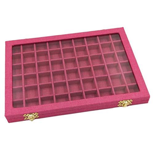 HJCE Line Box 54 Grids Tapa De Vidrio Transparente Anillos Escaparate, Organizador De Embalaje De Joyería Joyero para Pendientes Collares Pulseras Rosa Roja