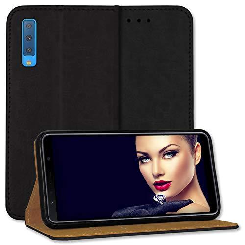 mtb more energy® Leder Tasche Bookstyle für Samsung Galaxy A7 2018 (SM-A750, 6.0'') - schwarz - Echtleder - Schutz Hülle Wallet Cover Hülle