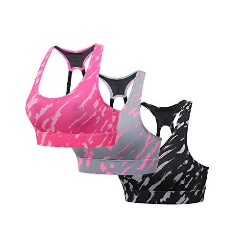 Reggiseno sportivo con gilet da yoga femminile 3PC senza set di biancheria intima sportiva con anello in acciaio