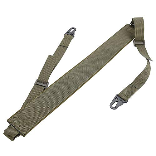 Tbest 2 Puntos Correa de Hombro de Pistola Correa de Rifle de Escopeta Nylon Cuerda Táctica Ajustable con Gancho de Metal para Caza Camping Deporte al Aire Libre(Verde Militar)