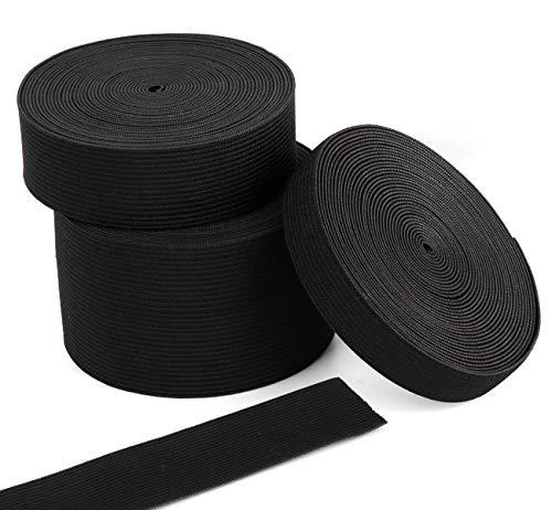 Agoer Gummiband 15-25-50-mm breit, Elastisches Band Elastische Schnur für Nähen und Haushalt DIY Handwerk, Gummilitze Schwarz für den Rettungsdienst zu fertigen, 15 m/16.4 Yard
