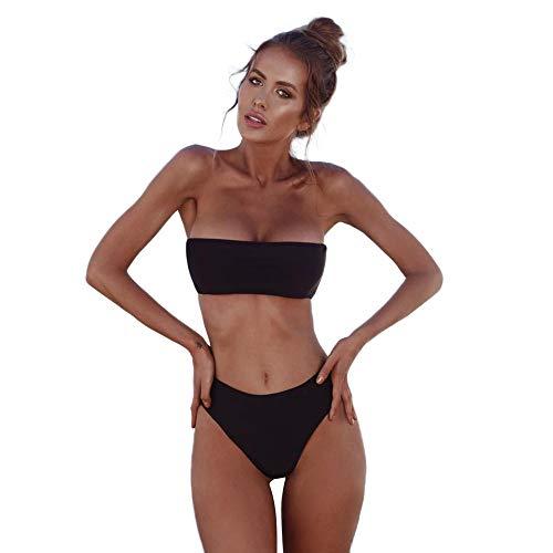 Bikini Set Women Swimwear Bandeau Bandage Push-Up Brazilian Beachwear Swimsuit Black