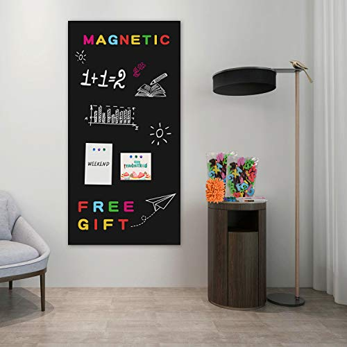 Board2by Magnetic Chalkboard Contact Paper for Wall, 38.9 x 18 Self Adhesive Chalk Board Wallpaper, Blackboard Paper with 46 Magnetic Letters for Kids, Black