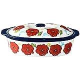 Lwieui Bandeja de Horno de cerámica Rectangular de cerámica de Queso a la Parrilla Plato Binaural arroz cocido al Horno con la Tapa Fuentes para Horno (Color : C1, Size : 26.5x14x7cm)