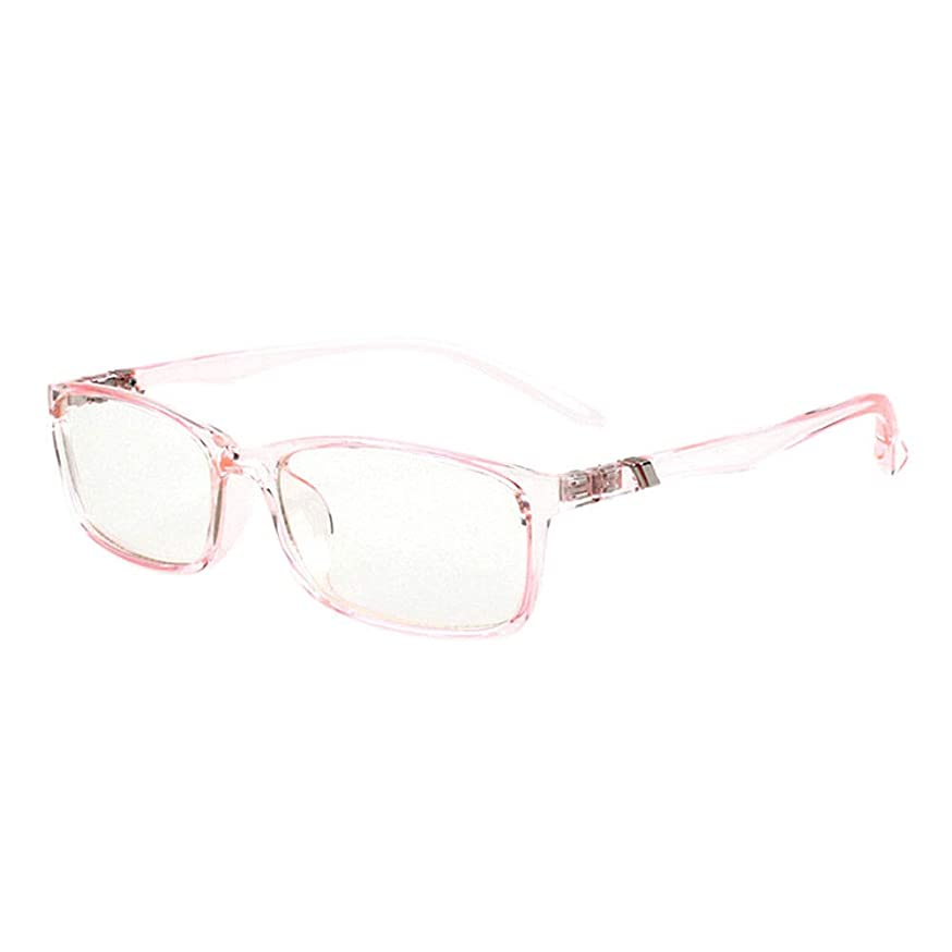Fosheng Lightweight TR90 Frame Glasses - Anti Blue Light Eyeglasses Computer Phones Anti Radiation Eyewear Rectangle Rimmed Vintage Unisex Goggle (Light Pink)