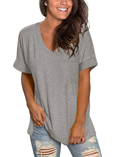 V Neck T Shirts for Womens Summer Tops with Pocket Short Sleeve Casual Tee Heather Grey XXL