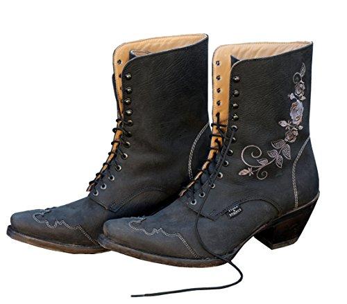 STARS & STRIPES Damen-Westerstiefel Rosie schwarz Cowboystiefel BZW. Cowboy Boots & Bikerstiefel Westernstiefel Stiefeletten für Frauen BZW. Damen (38) Schwarz