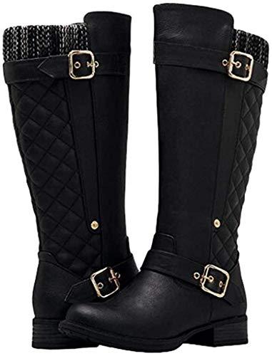 Frauen Stiefel mit Dicken Niedrigen Absätzen Martin Stiefel Damen Seitlicher Reißverschluss Hohe Schlauchstiefel(40 EU,Schwarz)