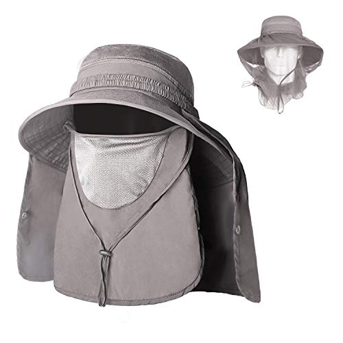 Unigear Sun Hat, UPF 50+ Sun Protection Wide Brim Bucket Hat with Removable Mosquito Net and Neck Face Flap
