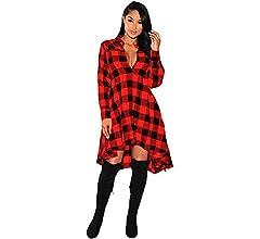 Falda Mini A Cuadros Vestido Casual Manga Larga para Mujer Falda a ...