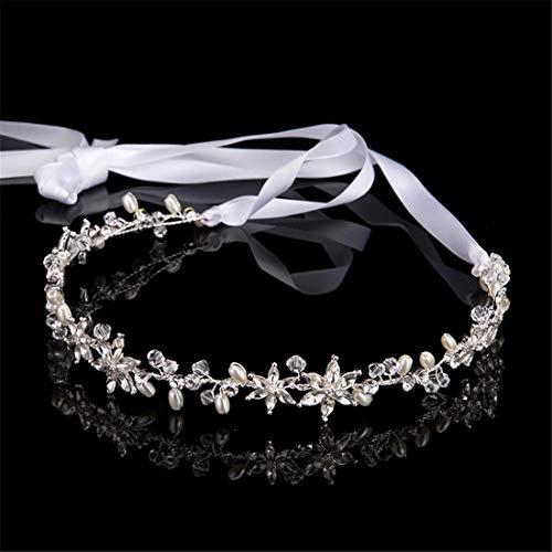 MIMIOOORE Braut Stirn-Haar-Zusätze Brauthaarblei Schmuck Brautkleid Zubehör (Color : Silver)