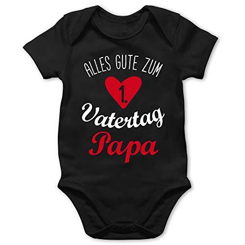 Shirtracer Vatertagsgeschenk Papa Tochter & Sohn Baby - Alles Gute zum ersten Vatertag weiß - 12/18 Monate - Schwarz - 1 Vatertagsgeschenk Baby - BZ10 - Baby Body Kurzarm für Jungen und Mädchen