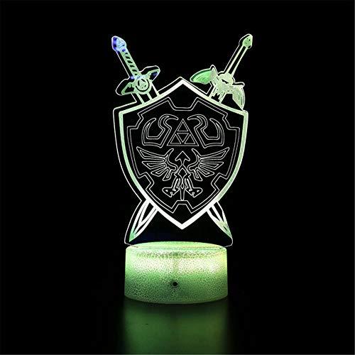 Lámpara de ilusión 3D La leyenda de Zelda B Luz de noche junto a la lámpara de mesa LED lámpara de ilusión para decoración del hogar Regalo de cumpleaños para niños - Base Crackle