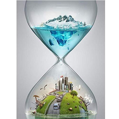 5D pintura diamante taladro completo kit Reloj de arena de personalidad DIY Diamond Painting rhinestone bordado de Punto de Cruz para la Decoración de la Pared del Hogar regalos artesanía 30x40cm