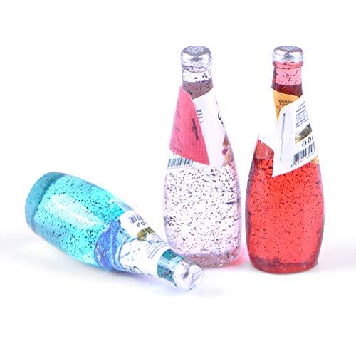 10 Stücke 1/12 Puppenhaus Miniatur Küche Lebensmittel Erfrischungsgetränk Saft Soda Flaschen Home Life Szenen Dekor Farbe Zufällig