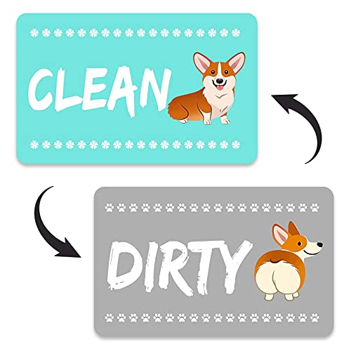 Dog Funny Clean Dirty Dishwasher Magnet Sign, Double Sided Strong Kitchen Flip Indicator, Reversible Dish Washer Refrigerator Sign, Bonus Universal Magnetic Plate, Funny Animal Magnet