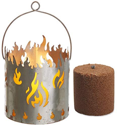 Novaliv Gartenlaterne Feuer mit 1x Brennelement Laterne Rost Metall Feuerschale Feuerkorb Windlicht