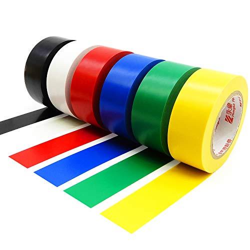 Cinta aislante de PVC de 25 mm x 15 m, paquete de 6 unidades, colores variados.