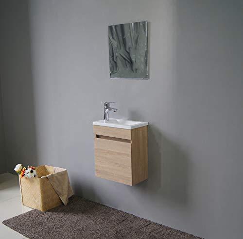 STARBATH PLUS Conjunto Mueble de Baño Suspendido MDF 40 x 22 cm Lavabo Resina Espejo Oslo (Roble)