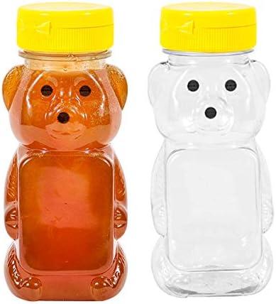 Brand New Plastic Bear Bottle Container 8 oz Honey Bee Jar Dispenser 12 Pack