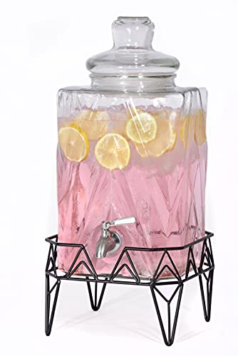 Glacial Ice Design Glass Beverage Dispenser with SS Spigot and Stand - 2.5 Gal