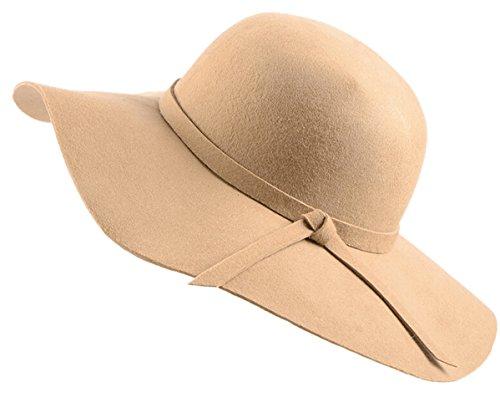 Urban CoCo Women's Foldable Wide Brim Felt Bowler Fedora Floopy Wool Hat (Camel)