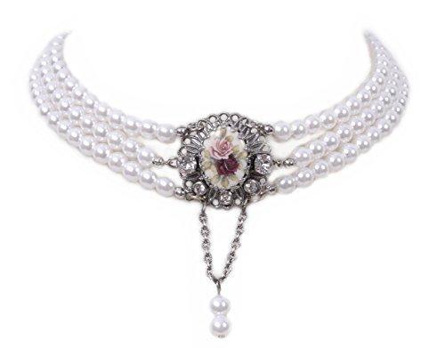 Moschen-Bayern Trachtenschmuck Dirndlschmuck Damen Kropfband Tracht Perlen Kropfkette Trachtenkette Dirndlkette Weiß Rot Silber
