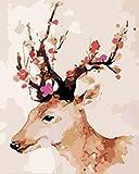 Pintura por números para adultos, color marrón, animales, renos, adultos, pintura acrílica por números, con pinceles y pigmento acrílico, 40 x 50 cm (sin marco)