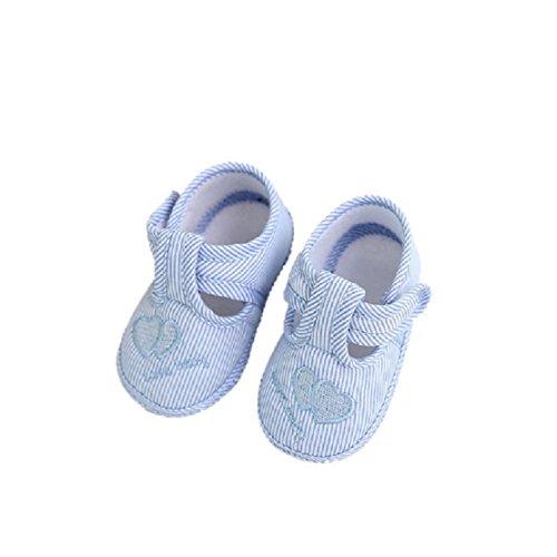 Regalo Bautizo Niño, Zolimx Recién Nacido Niña Chico Suave Cuna Reborn Zapatos Zapatillas de Lona (3-6 Meses, Cielo Azul)