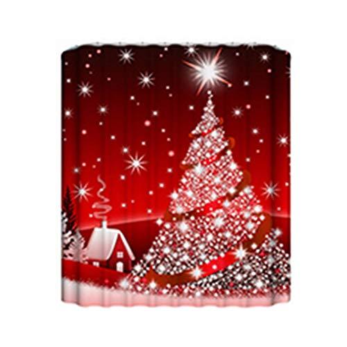 3D Kerst Decor Gedrukt Gordijn Creatieve Draperie Gordijnen Deur Scherm Badkamer Accessoires Mat Douchegordijn Rood En Wit Gordijn 90 * 180