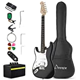 Donner DST-1BL Full-Size 39 Inch Left Handed Electric Guitar Kit Black, with Amplifier, Bag, Capo, Strap, String, Tuner, Cable, Picks